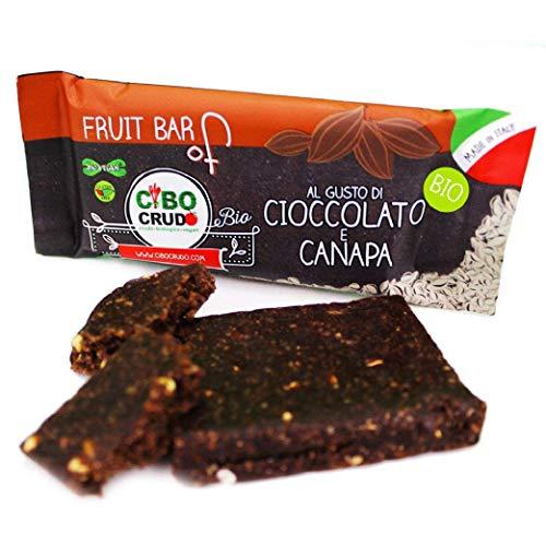 CiboCrudo Barretta Cioccolato e Canapa Biologica Cruda, Bar Raw Organic – 35gr – Snack Proteico Bio, Senza Zuccheri Aggiunti, Cacao Crudo, Etichette in Italiano