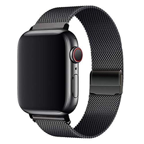 WAAILU Compatible with Apple Watch Band 38mm 40mm 42mm 44mm, Stainless Steel Mesh Sport Wristband Loop Compatible for iWatch Series 5/4/3/2/1