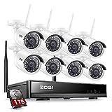 ZOSI 1080P Kit de Cámaras Seguridad WiFi (8CH H.265+ Grabador NVR Inalámbrico + 8 Cámara de Vigilancia Exterior + 1TB Disco Duro), 30M Visión Nocturna, Detección de Movimiento, P2P