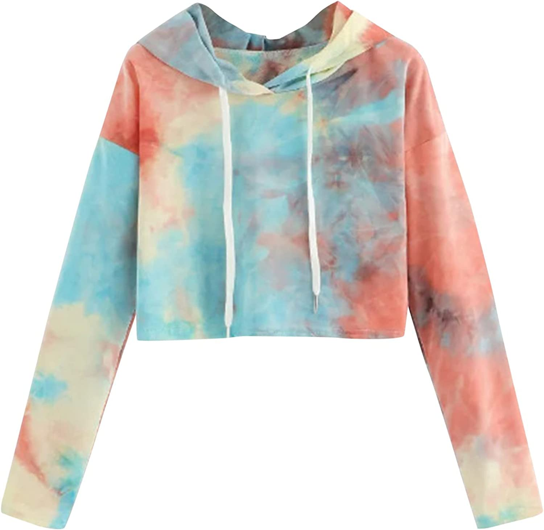 TAYBAGH Crop Hoodies for Women Casual Tie Dye Print Long Sleeve Crop Tops Pullover Drawstring Sweatshirt for Teen Girls