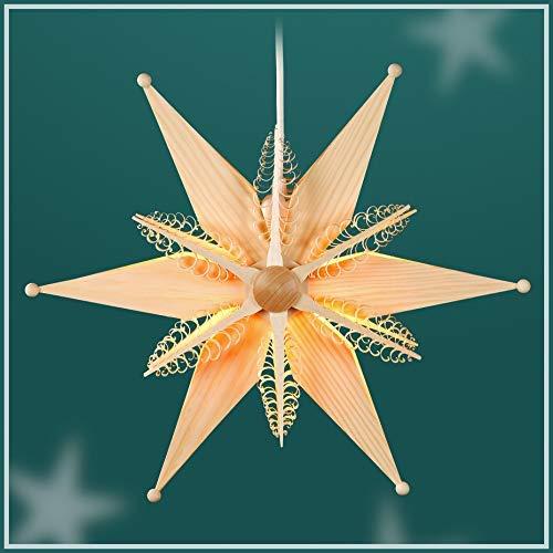 Holzstern Kiefernblätter el beleuchtet,1 Lampe 14 watt D = 34 cm NEU Erzgebirge Fensterstern Weihnachtsstern