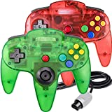 2 Pack N64 Controller, King Smart Classic Wired N64 64-bit Gamepad Joystick for Ultra 64 Video Game Console N64 System(Jungle Green and Ruby Red)