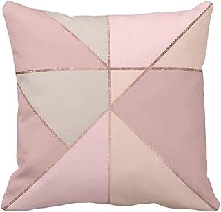 Lfff Funda de Almohada de Tiro Rosa Geométrico Moderno Oro Rosa Melocotón Bronceado Bloque de Color Coral Funda de Almohada Decorativa Funda de Almohada Cuadrada