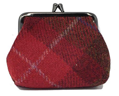 Harris Tweed Rot Tartan Einzel -Haken -Geldbeutel