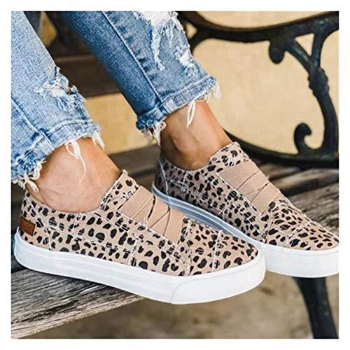 LYDBM New Spring Pisos de Mujer Zapatos de Moda Denim Leopard Pareja Pisos Zapatos para Mujer Hombres Zapatillas de Deporte Retro (Color : Leopard Print, Shoe Size : 39)