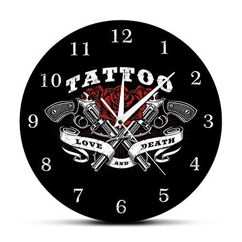 JXCDNB Vintage Tattoo Sign Reloj de Pared Love and Dead Rose y Tattoo Gun Clock Studio Tattoo Gothic Art Tattoo Gift 12 Pulgadas