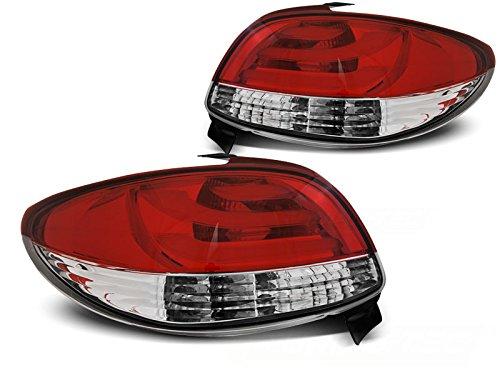 1 paar achterlichten 206 Limousine 98-06 rood wit LED LTI (E20)