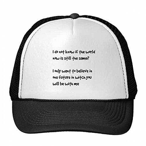 DIYthinker Futuro Famoso Poesía Cita con Gorros Gorra de béisbol de Malla de Nylon Sombrero Fresco niños Regalo del Sombrero Casquillo Ajustable Usted