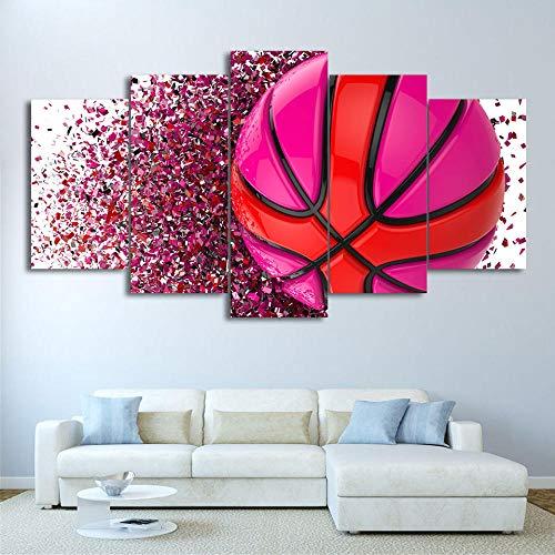 GUANGYING Cuadro en Lienzo, Arte de Pared, Impresiones en HD, fútbol, 5 Piezas, decoración del hogar, Baloncesto, Deporte, imágenes modulares para Sala de Estar, póster artístico