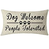 NIDITW Nice Gift with Paw Prints Inspirational Words Dog Welcome People Tolerated Waist Lumbar Throw Pillow case Cushion Cover Pillowcase for Sofa Home Decorative Rectangular Long 12X 20 Inches