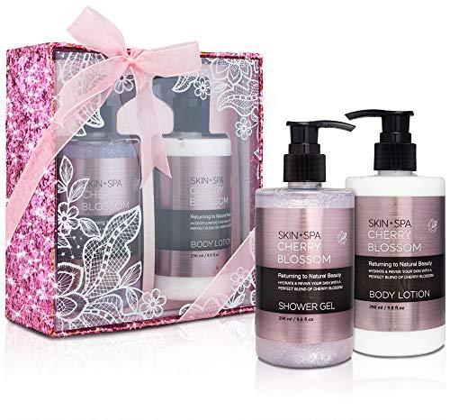 BRUBAKER Beautyset Cherry Blossom Skin + Spa - 2 tlg. Dusch- und Körperpflege Set mit Kirschblüten Duft in Glitzer Geschenkbox Pink