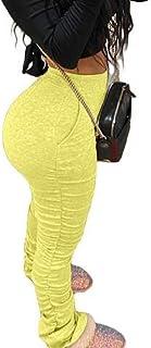 Yeirui Women's Waisted High Bodycon Plain Casual Butt Lift Pleated Sport Pants
