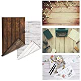 2-Pack 4 Patterns Photographic Background Rustic Wood Grainy Background Board Grunge Wood Dark&Light Color Product Photography Backdrop Food ins Style Jewelry Makeup Photo Video flatlay Background