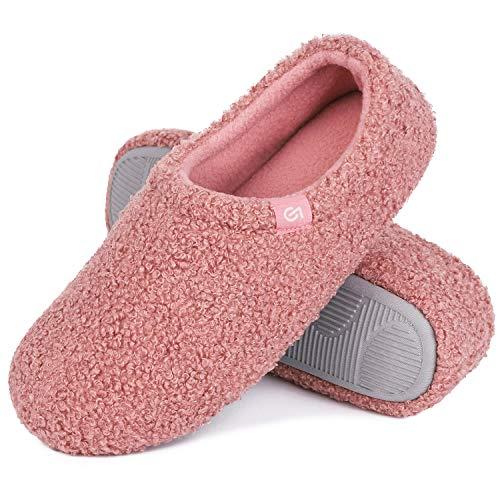 VeraCosy Damen Fuzzy Curly Fur Memory Foam Hausschuhe Anti-Rutsch Leichte Atmungsaktive Hausschuhe, Pink - rose - Größe: 40/41 EU