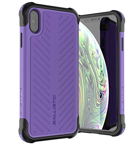Ballistic iPhone Xs Max Case, [Tough Jacket Series] Military Grade Drop Tested Rugged Protective Case for Apple iPhone Xs Max, 6.5 Inch, Purple