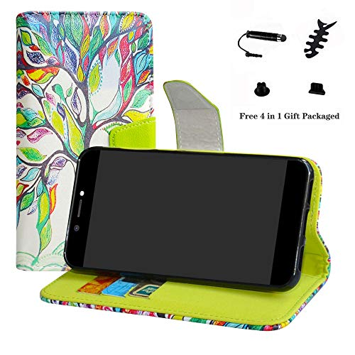 LFDZ Archos Core 50 Custodia, PU di Cuoio Pelle con Supporto Carte di Credito in Piedi Caso Case per Archos Core 50 Smartphone (con 4in1 Regalo impacchettato),Love Tree
