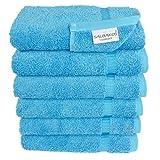 SALBAKOS Luxury Hotel & Spa Turkish Cotton 6-Piece Hand Towel Set, 16 x 30 Inch, Aqua