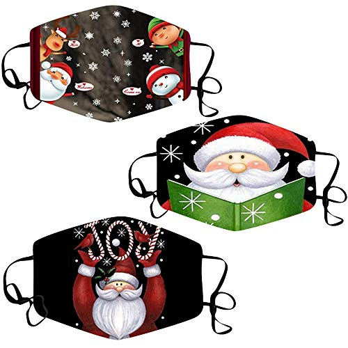 Washable Reusable Face_Mask for Adult, 3 Pack Christmas Printed Face Mouth Dust Haze Breathable Full Protection Elastic Ear Loop Facemask for Outdoor Working School Xmas Pattern Face Scarf (C)