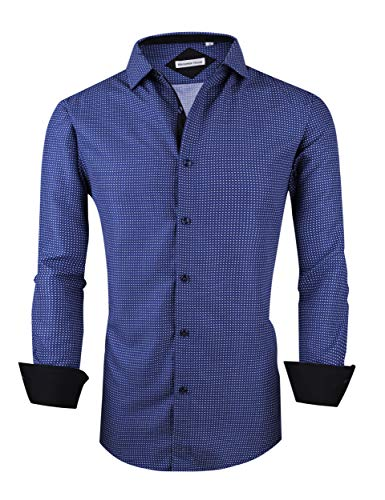 Menswear House Mens Dress Shirts Long Sleeve Regular Fit Printed Shirt Button Down (Long-blue02, M)