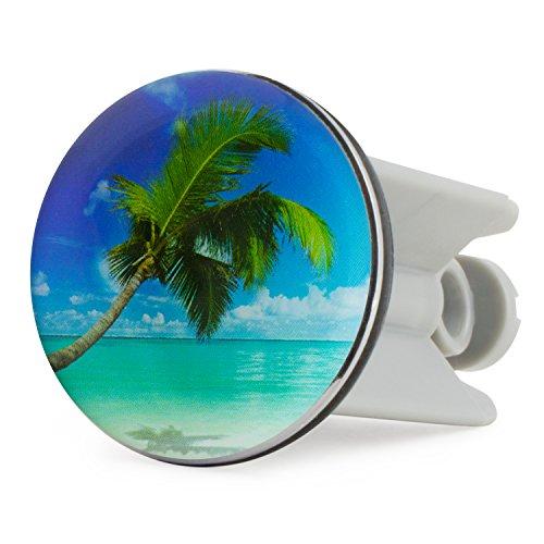 Grinscard Waschbecken Stöpsel Caribbean Dream Motiv - 7 x 4 cm - Maritimer Spülbecken Abflussstopfen als Geschenk