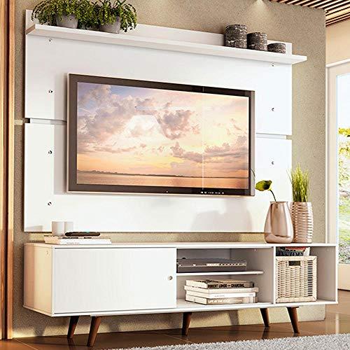 Rack Madesa Dubai e Painel para Tv até 65 Polegadas com Pés - Branco/rustic