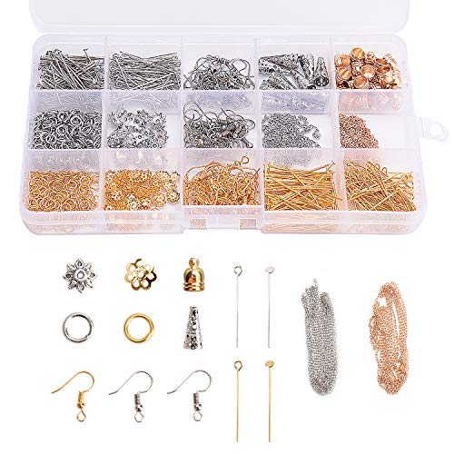 Noverlife 850PCS 14 Styles Jewelry Findings Components for Earrings Making, Earring Hooks, Head Pins, Eye Pins, Cones, Jump Rings, Bead Caps, Chains for Jewelry Designers DIY Handmade Crafts