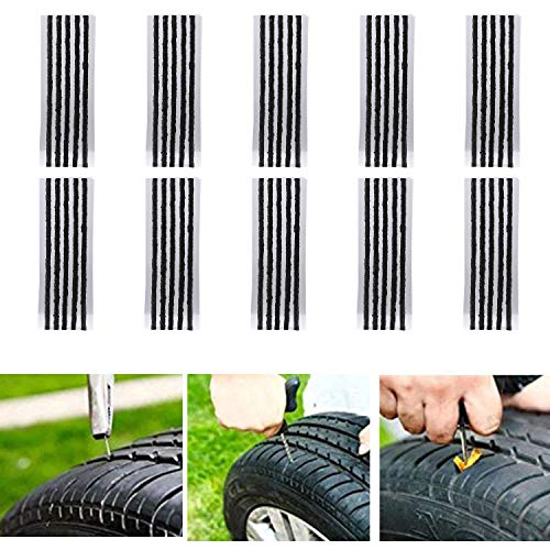 CICMOD 50pcs Kits de Reparación de Neumáticos de Reparación de Neumáticos Cuerdas Clavijas de Reparación de Neumáticos para Coche Van Camión Moto 20 cm