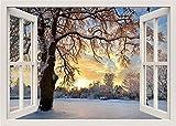 Efecto 3D Ventana Vista Pegatinas de pared Extraíble Naturaleza Invierno Vinilo Calcomanía Decoración Mural Paisaje Arte Decoración para el hogar -A
