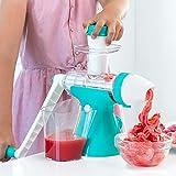 Helado 100% natural, sin leche.Heladera con manivela ideal para los intolerantes a la lactosa y para los que quieren un helado fresco de fruta. Incluye un accesorio para hacer también zumos de fruta.