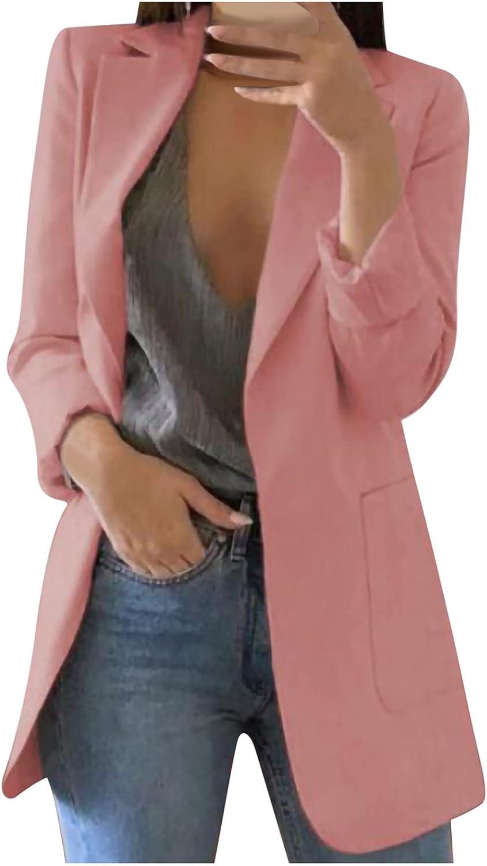 Cardigan for Women, Women's Open Front Pocket Blazer Solid Color Long Sleeve Work Office Blouse Jacket