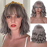 MISSQUEEN Short Grey Wig With Bangs,Short Grey Wavy Wigs for Women,Synthetic Natural Curly Bob Wig(Grey)