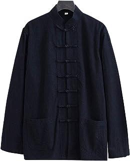 FMOGQ Luźna kurtka Kung Fu, mundurek Tai Chi Mężczyźni Chińskie ubrania Kung Fu Bawełna Len Wing Chun Odzież, Płaszcz Tang...