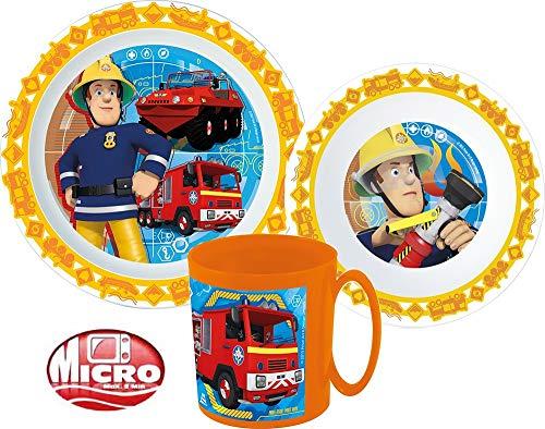 Feuerwehrmann Sam Kinder-Geschirr Set mit Teller, Müslischale und Trinkbecher