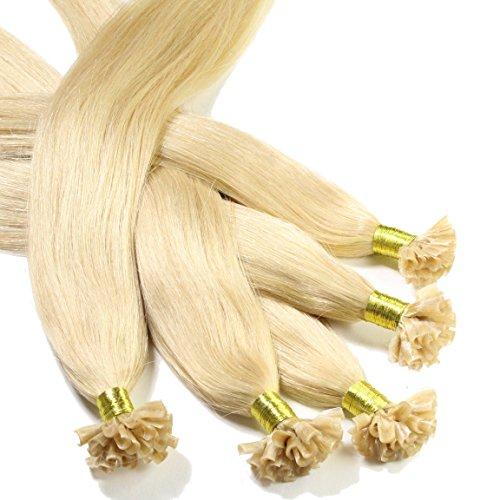 hair2heart 50 x 0.5g Echthaar Bonding Extensions, glatt - 60cm - #22 goldblond