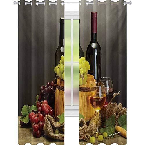 YUAZHOQI Cortina para ventana de bodega con botellas y copas de vino y uvas maduras sobre mesa de madera, impresión de 132 x 274 cm, para puertas francesas, multicolor