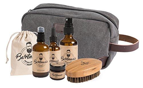 Bartmanie 6 teiliges Bartpflege-Set bestehend aus Bartshampoo (100ml), Bartwuchsspray (50ml), Bartwachs (50ml), Bartöl (50ml), Bartbürste & Kulturbeutel, Geschenkset für Männer