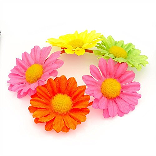 Flower Bun Garland Floral Hair Top Head Knot Scrunchie Band Elastic Bridal in Neon