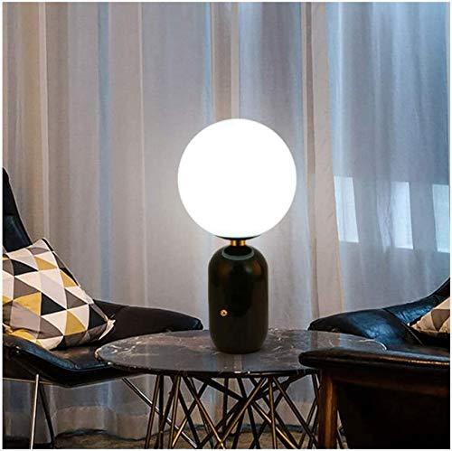 QTWW Lámpara de Mesa Lámpara de mesita de Noche Bola Blanca Leche Pantalla de Cristal Lámpara de Dormitorio Hardware nórdico Lámpara de Escritorio con Revestimiento Dormitorio Sala de Estar Lámpa