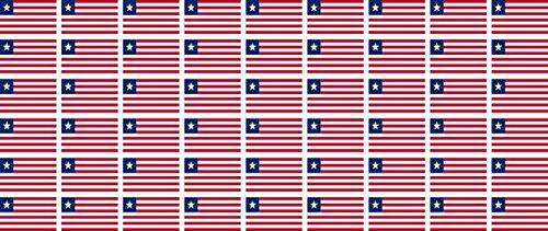 Mini Aufkleber Set - Pack glatt - 20x12mm - Sticker - Liberia - Flagge - Banner - Standarte fürs Auto, Büro, zu Hause & die Schule - 54 Stück