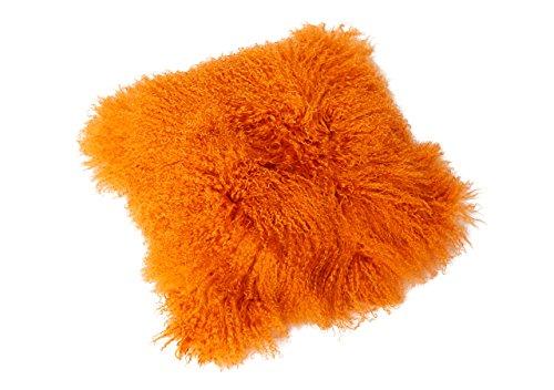 Tibet Lammfell Kissen Kissenbezug 30x30cm (große Farbauswahl) JAY12 Farbe orange