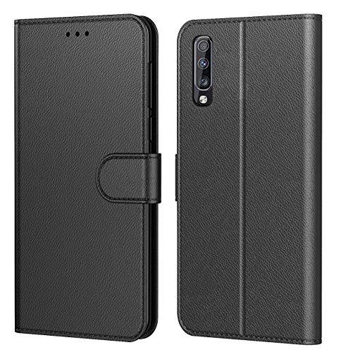 Tenphone Etui Coque pour Samsung Galaxy A70, Protection Housse en Cuir PU Portefeuille Livre,[Emplacements Cartes],[Fonction Support],[Languette Magnétique] pour (Galaxy A70 (6,70 Pouces), Noir)