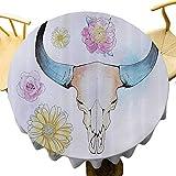 Skulls Decoraciones Colección Mantel redondo adornado acuarela ilustración de montaña Cabra cráneo con flores y colores suaves folclórico para fiestas multi diámetro 36 pulgadas