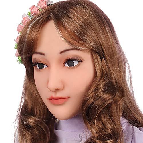 Soft Silicone Realistic Female Head Mask Hand-Made Face for Crossdresser Transgender Halloween Costumes 3G Light Beige