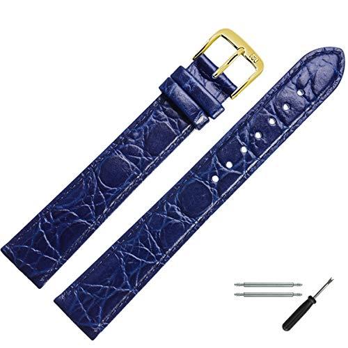 MARBURGER Uhrenarmband 18mm Leder Blau Kroko XL - Werkzeug Montage Set 6811850000220