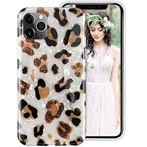 iPhone 11 Pro Max Case for Girls Women,Glitter Leopard Cheetah Print Cute Design Soft Silicone Protective Phone Case Cover with Sparkly Pearly-Lustre Shell Pattern for Apple iPhone 11Pro Max 6.5