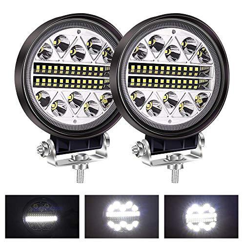 yanzz Barra de luz LED de 4.5', vainas de luz LED Redondas, Luces combinadas de inundación, 12 V, 24 V, Luces antiniebla de Trabajo de conducción para Todoterreno, camión, Barco, Tractor, 2 Luces