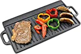 ANDREW JAMES Griddle Plate | Cast Iron Reversible Griddle Pan with Flat