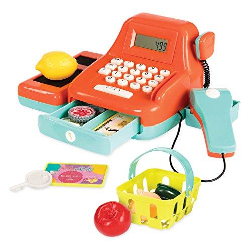 Battat B. Toys Cash Register Toy Playset – Pretend Play Kids Calculator Cash Register with Accessories for 3+ (26-Pieces) (BT2666Z), Orange