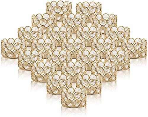 VINCIGANT Teelichthalter Kerzenständer Gold, Kristall Kerzenhalter Tischdekoration, Goldene Deko 24er Set