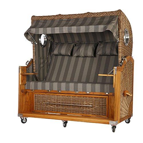 Teak Strandkorb 3 Sitzer Grau gestreift mit 2 Bullaugen 170cm Breite Rattan Banana inkl. Vollausstattung
